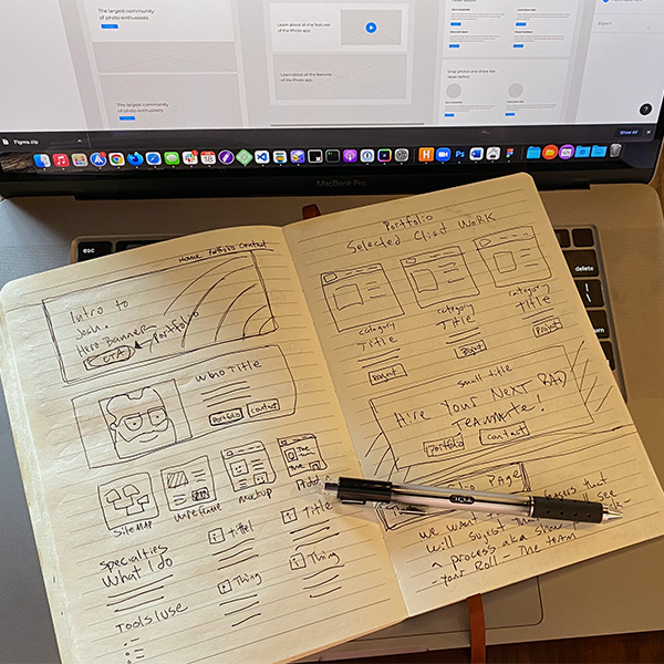 Wireframes hand drawn being transferred to digital.
