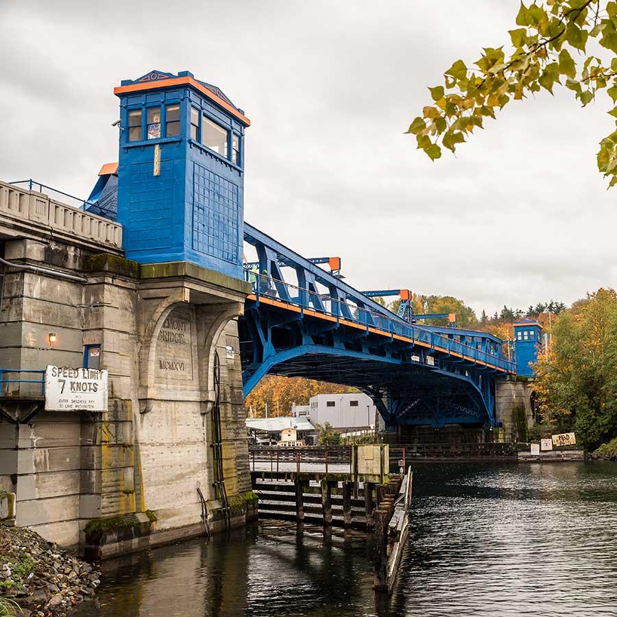 Bright blue Bridge in Fremont Seattle.